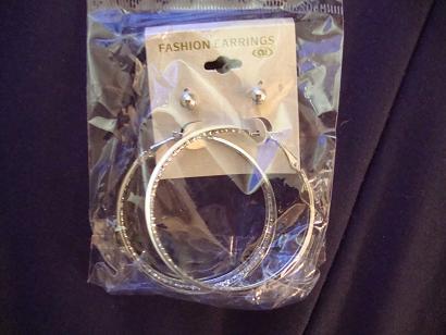 Silver Tone stud and 3 hoop earrings New in package