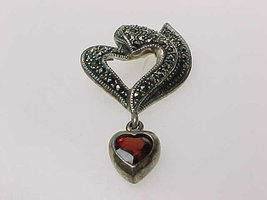 Sterling Silver PENDANT with Marcasites and Dangling Genuine GARNET Heart - $45.00
