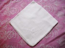 VINTAGE WHITE COTTON HANDKERCHIEF w/EMBROIDERED FLOWER, CROCHET BORDER - $5.00