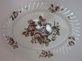"Johnson Brothers China Devon Spray Brown Multicolor 12"" Oval Serving Platter - $10.66"