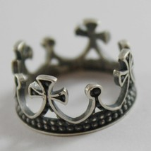 925 Silber Ring Brüniert Krone Mittelalter Vintage-Stil Made in Italy image 1