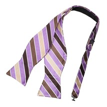 DBA7A24B Brown Medium Purple Stripes Bow Tie Microfiber Holidays Goods S... - $19.35