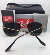 New RAN-BAN Sunglasses HEXAGONAL RB 3548-N 001 48-21 140 Gold Frame w/ G15 Green image 4