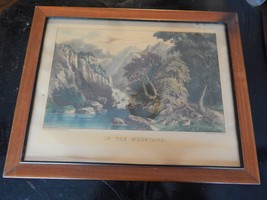 Antique Currier and Ives Framed Print - In The Mountains - $95.00