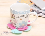 BestA 5 Pcs Cute Flower Shape Heat Insulated Silicone Coasters Cup Pad Mat
