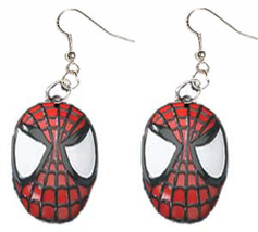 SPIDER-MAN MASK EARRINGS-Super-Hero Character Charm Jewelry-HUGE - $6.97
