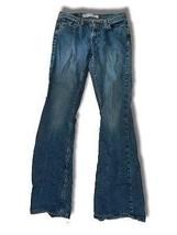 Express Precision Fit Low Slung Flare Stretch Blue Jeans sz 5/6 Regular - $13.06