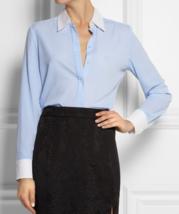 NWT Altuzarra x Target Pinstriped crepe de chine shirt Blue White size X... - $59.00