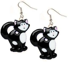 CAT EARRINGS-BLACK WHITE TABBY-Pet Kitty Charm Funky Jewelry-BIG - $6.97