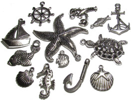 Olivia Pearl Designs 12 Nautical Beach and Fishing Silver Tone Jewelry C... - $6.95