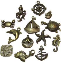 Olivia Pearl Designs 12 Nautical Beach and Fishing Bronze Tone Jewelry C... - $7.87