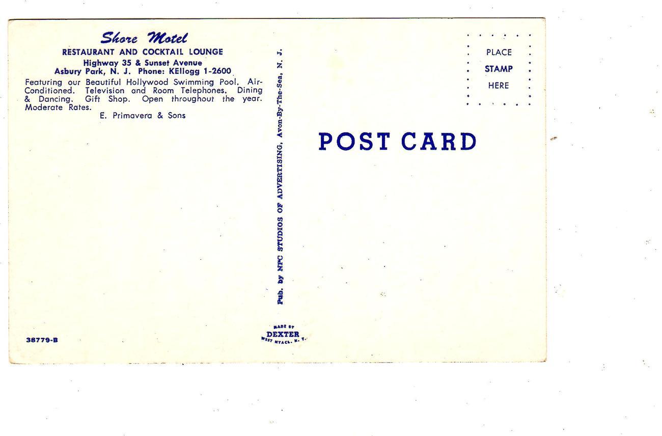 Shore Motel Asbury Park, N.J. -1950's