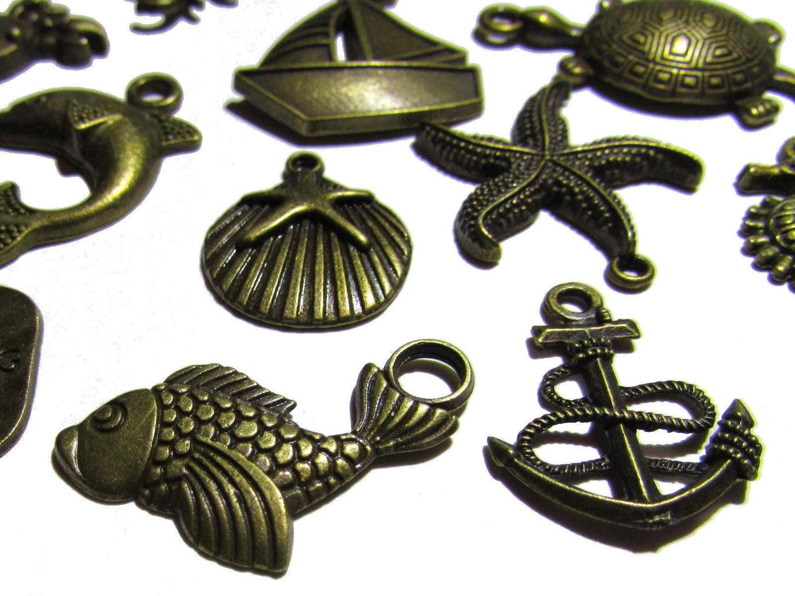 Olivia Pearl Designs 12 Nautical Beach and Fishing Bronze Tone Jewelry Charms