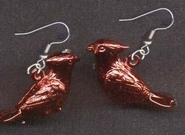 Cardinal Perched Funky Earrings Mini Metallic Bird Charm Jewelry - $5.97