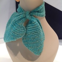 40s-50s Handmade Estate Knit Scarf Bow Neck Warmer Metallic Gold Turquoi... - $19.31