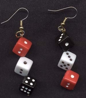 Dice 20earrings red 20black 20white large