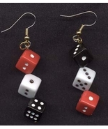 DICE EARRINGS-BIG Lucky Craps Casino Funky Jewelry-RED/BLK/WHITE - $6.97