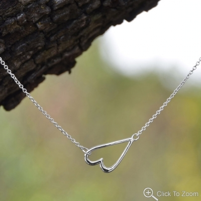 Sterling Silver Chain Necklace with Sideways Heart Design