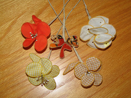 HANDCRAFTED FIVE FABRIC FLOWERS (Magpie Fairy V... - $25.00