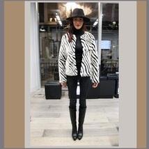 Fabulous Zebra Stripe Fashion Faux Fur Long Sleeve Jacket Shirt Coat  image 3