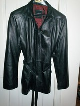COLEBROOK & CO Women's Leather Jacket  BLACK SIZE M, BELTED &  ZIPPER FRONT - $15.83