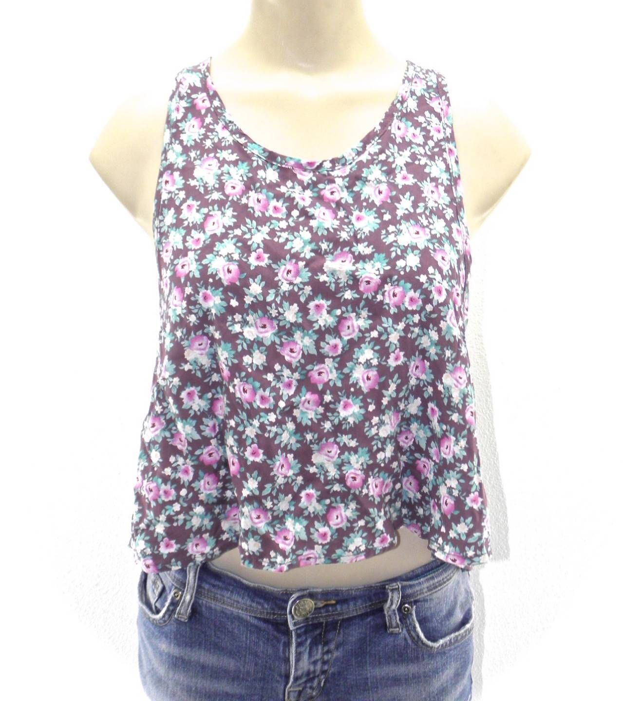 NEW WOMENS ABOUND TANK TOP BROWN FLORAL ROSE PRINT M MEDIUM SHIRT