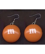 m&m EARRINGS-Chocolate Candy Junk Food Charm Costume Funky Jewelry-ORANG... - $6.97