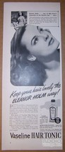 Vaseline Hair Tonic '40s AD bathing beauty Olympic wwimmer Eleanor Holm ... - $11.64