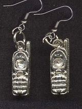 Cordless PHONE EARRINGS - Pewter Retro Telephone Charm Jewelry - $6.97
