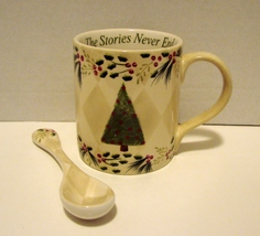 Vintage Christmas Mug With Spoon Family And Friends - $15.90