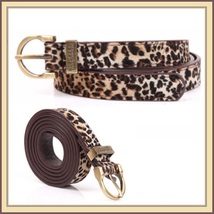 Fashionable Leopard Style with Metal Buckle 3cms Wide Genuine Cow Leather Belt