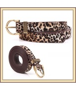 Fashionable Leopard Style with Metal Buckle 3cms Wide Genuine Cow Leath... - $29.95