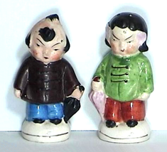 Chinese Boy and Girl in Native Dress Salt Pepper Shakers Circa 1954 Japan - $16.00