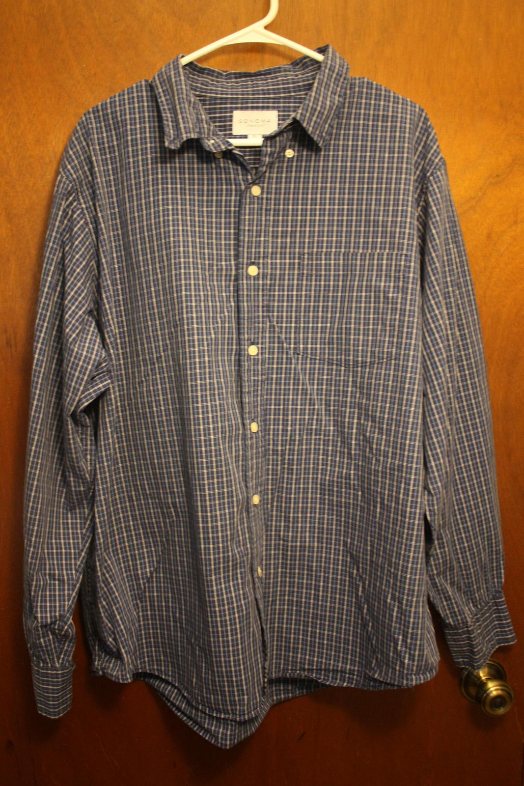 Sonoma Blue Plaid Long Sleeve Dress Shirt - Size XL - $14.99