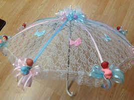 "32"" White Lace baby shower umbrella with pink and blue babies - $26.95"