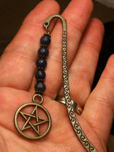 "Mini Bookmark Antique Bronze Tone Dangling Blue Jade Beads & Pentacle ""H... - $10.99"