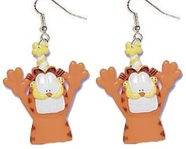 GARFIELD PARTY ANIMAL EARRINGS-Cartoon Cat Charm Funky Jewelry - $4.97