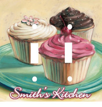 PERSONALIZED PASTEL CUPCAKES KITCHEN DOUBLE LIGHT SWITCH PLATE COVER - £5.49 GBP