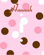 PERSONALIZED PINK AND BROWN POLKA DOTS LIGHT SWITCH PLATE COVER - $6.25