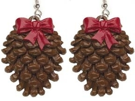 PINECONE EARRINGS-Fall Winter Holiday Pine Tree Funky Jewelry-LG - $4.97