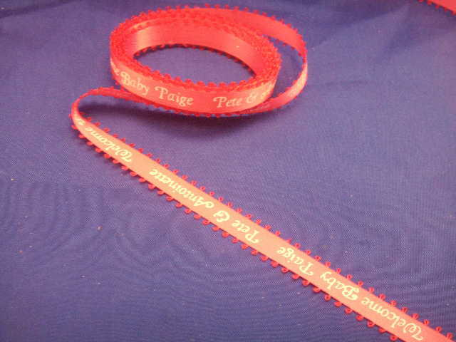 """15 yards continuous print PERSONALIZED RIBBON 3/8"""" feathered edge"""