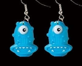 ALIEN MONSTER EARRINGS-Funky Martian Rave Costume Jewelry-BLUE - $4.97