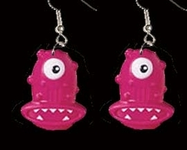 ALIEN MONSTER EARRINGS-Funky Martian Rave Costume Jewelry-PINK - $4.97