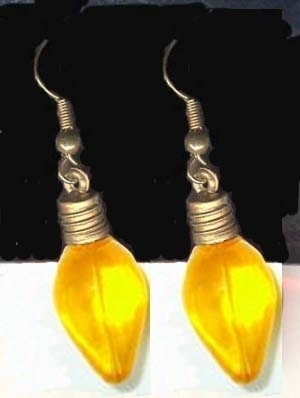 Christmas LIGHT BULB EARRINGS-Funky Charm Holiday Jewelry-YELLOW