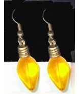 Christmas LIGHT BULB EARRINGS-Funky Charm Holiday Jewelry-YELLOW - $4.97
