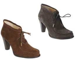 New Isaac Mizrahi real SUEDE Leather Lace Booties Whipstitch Gray Brown - $94.20