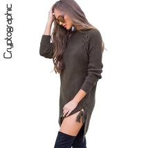 Knitted sweater dress split lace up - $33.99