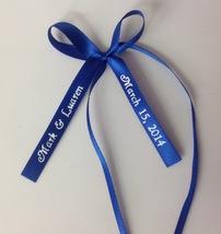 50 made bows PERSONALIZED RIBBON  3/8 inch straight edge satin ribbon - $23.00+