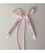 50 made bows PERSONALIZED RIBBON  3/8 inch silver edge satin ribbon - $23.00+
