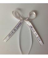 50 made bows PERSONALIZED RIBBON  3/8 inch gold edge satin ribbon - $23.00+